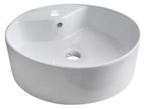 American Imaginations 18 inch width x 18 inch depth Above Counter Round Vessel In White Color For Single Hole Faucet