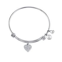 Love This Life Bangle Crystal Heart