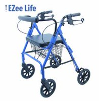 "Ezee Life17.25"" Seat Width  Economy Folding Aluminum Rollator Walker with Cane Holder"