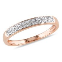Miabella 0.10 Carat T.W. Diamond 10 K Rose Gold Anniversary Ring