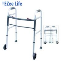 Adult 2-Button Folding Walker with wheels and skis - 1080, ski/wheel - Ezee Life