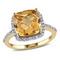 Tangelo 4 Carat T.G.W. Citrine and Diamond-Accent 10 K Yellow Gold Halo Cocktail Ring 5