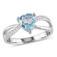 Tangelo 1.33 Carat T.G.W. Blue Topaz and Diamond-Accent Sterling Silver Cross-Over Heart Ring 7