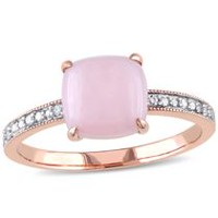 Tangelo 1.33 Carat T.G.W. Pink Opal and Diamond-Accent 10 K Rose Gold Cocktail Ring 5.5