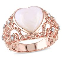 Miadora 4.25 Carat T.G.W. Pink Opal and Diamond-Accent Rose Rhodium-Plated Sterling Silver Heart Cocktail Ring 9