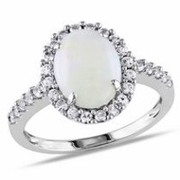 2.25 Carat T.G.W. Opal and Created White Sapphire 10 K White Gold Halo Ring 9