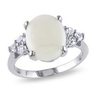 3 Carat T.G.W. Opal and Created White Sapphire Sterling Silver Cocktail Ring 8