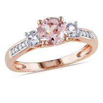 Tangelo 1.14 Carat T.G.W. Morganite with Created White Sapphire and Diamond-Accent 10 K Rose Gold Three-Stone Ring 7.5