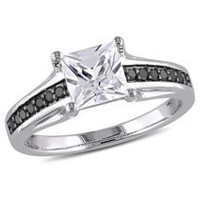 1.33 Carat T.G.W. Created White Sapphire and 0.14 Carat T.W. Black Diamond Sterling Silver Engagement Ring 7.5