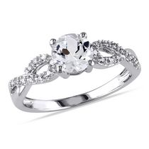 Miabella 1 Carat T.G.W. Created White Sapphire and 0.10 Carat T.W. Diamond 10 K White Gold Cross-Over Ring 7.5