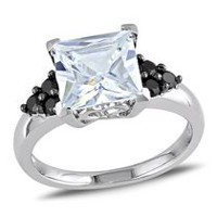 5.40 Carat T.G.W. Black and White Cubic Zirconia Engagement Ring in Sterling Silver 6
