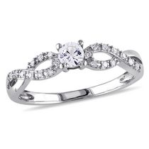Miabella 0.25 Carat T.G.W Created White Sapphire and Diamond-Accent 10 K White Gold Promise Ring 7.5