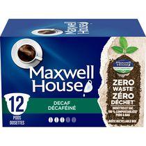 Dosettes de café décaféiné Maxwell House compostables à 100 %, 12 dosettes