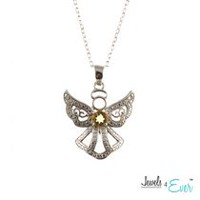 Jewels 4 Ever Genuine Sterling Silver and Citrine Angel Pendant and Chain Set