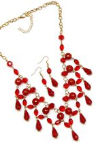 Multiple Crystal Neckset in Red