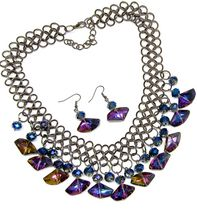 Multiple Crystal Neckset in Midnight Purple