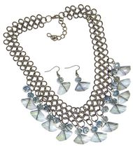 Multiple Crystal neckset in Light Blue