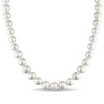 Miabella 7.5-8mm White Freshwater Cultured Pearl Sterling Silver Strand Necklace