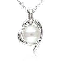 Miabella 8.5-9mm White Round Cultured Freshwater Pearl and Diamond Accent Sterling Silver Heart Pendant