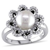 Miabella 8-8.5mm White Round Freshwater Cultured Pearl and 0.24 Carat T.W. Diamond Sterling Silver Flower Ring 9