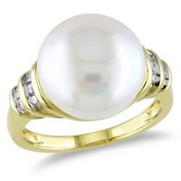 Miabella 12-12.5mm White Button Freshwater Cultured Pearl and 0.10 Carat T.W Diamond 10K Yellow Gold Cocktail Ring 7