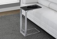 Monarch Specialties Table d'appoint - noire / metal argente