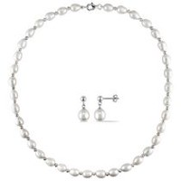 Miabella 8-8.5mm White Rice Freshwater Cultured Pearl Sterling Silver Set of Strand Necklace and Dangle Earrings