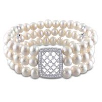 Miabella 6-7mm White Cultured Freshwater Pearl and Cubic Zirconia Sterling Silver Stretch 3-Row Bracelet