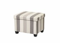 Striped Fabric Ottoman with Hinge - Grey