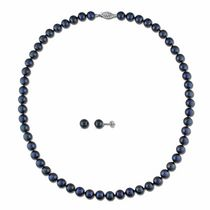 6.5-7mm Black Cultured Pearl 14K White Gold Set of Strand Necklace and Stud Earrings