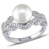 Miabella 8-8.5mm White Round Freshwater Cultured Pearl and 0.20 Carat T.W Diamond 10K White Gold Cocktail Ring 6.5