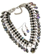 Multiple Crystal Neckset in Purple Tones