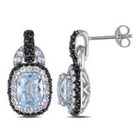 Tangelo 6.20 Carat T.G.W. Blue Topaz and Created White Sapphire with Black Spinel Sterling Silver Dangle Earrings
