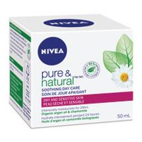 NIVEA Pure & Natural Soothing Organic Argan Oil & Chamomile Day Care Cream for Dry & Sensitive Skin