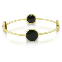 16 Carat T.G.W. Black Onyx Brass Bangle