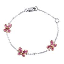Cutie Pie Jewels 0.33 Carat T.G.W. Created Pink Sapphire Sterling Silver Child's Butterfly Chain Bracelet