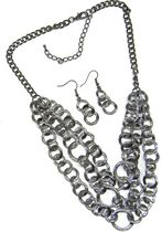 Chain Link Neckset in Hemetitie