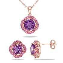 Tangelo 3.75 Carat T.G.W Amethyst and Created Pink Sapphire Rose Rhodium-Plated Sterling Silver Set of Halo Pendant and Earrings