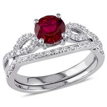 Miadora 1 Carat T.G.W Created Ruby with 0.17 Carat T.W Diamond 10 K White Gold Infinity Design Bridal Set 5