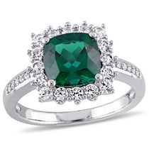 Tangelo 2.24 ct Created Emerald and Created White Sapphire Diamond Accent Sterling Silver Halo Ring 5