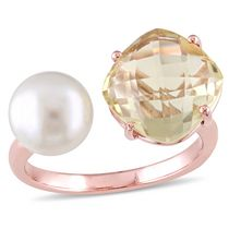 Miadora 8-8.5mm White Round Freshwater Cultured Pearl and 0.75 Carat T.G.W Lemon Quartz Rose Rhodium-Plated Sterling Silver Ring 8