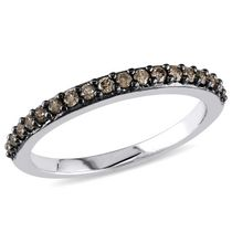 0.25 Carat T.W Brown Diamond 10 K White Gold Eternity Anniversary Ring 7