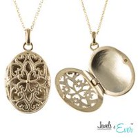 Jewels 4 Ever Sterling Silver Gold Plated Co mmemorative Locket Pendant with Chain