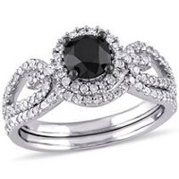 1.50 Carat T.W Black and White Diamond 10 K White Gold Halo Bridal Set 4.5