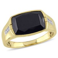 Men's 4.40 Carat T.G.W Black Onyx and Diamond Accent Yellow Rhodium Plated Sterling Silver Ring 9