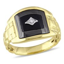 Men's 3.40 Carat T.G.W Hematite and Black Onyx with Diamond Accent Yellow Rhodium Plated Sterling Silver Ring 9