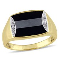 Men's 1.20 Carat T.G.W Hematite and Black Onyx with Diamond Accent Yellow Rhodium Plated Sterling Silver Ring 13