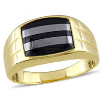 Men's 3 Carat T.G.W Black Onyx and Hematite Yellow Rhodium Plated Sterling Silver Ring 13