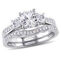 Miadora 1.31 ct Created White Sapphire and 0.15 ct Diamond 10 K White Gold Bridal Set 4.5