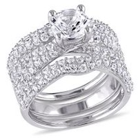 Miabella 4.21 ct Created White Sapphire Sterling Silver Bridal Set 9